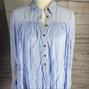 Free People Lovely Day Long Sleeves Top Blue S